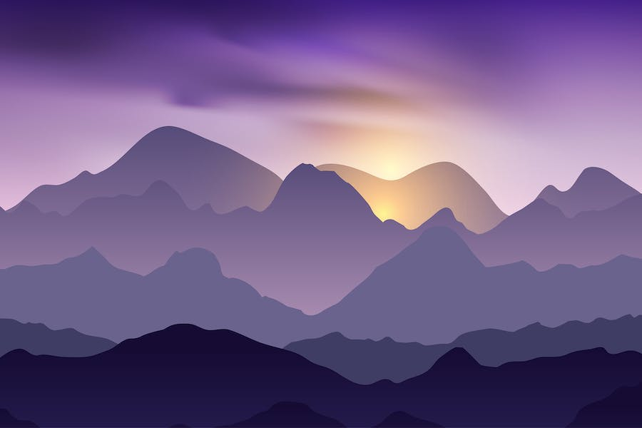 Nature evening landscape with mountain peaks