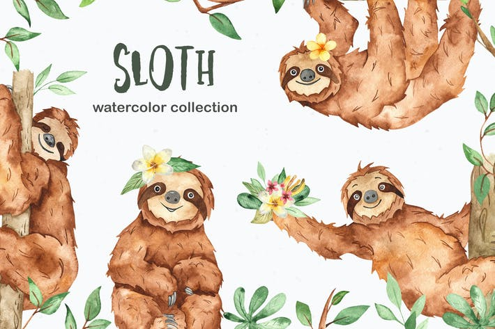 Thumbnail for Watercolor cute sloth and tropical plants
