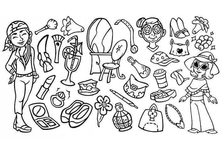 Thumbnail for 30 Beauty Stuffs - Doodle Clipart
