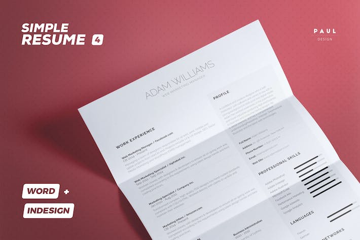 Thumbnail for Simple Resume/Cv Volume 4