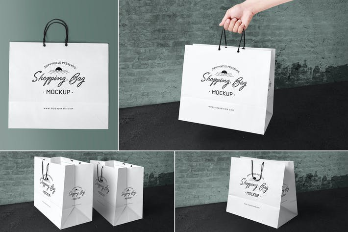 Thumbnail for 4 Paper Shopping Bag Mockups