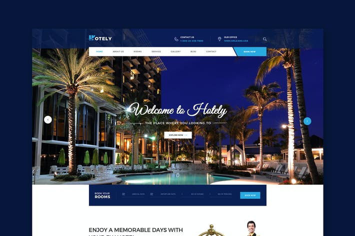 Thumbnail for Hotely - Hotel Booking & Travel PSD Template