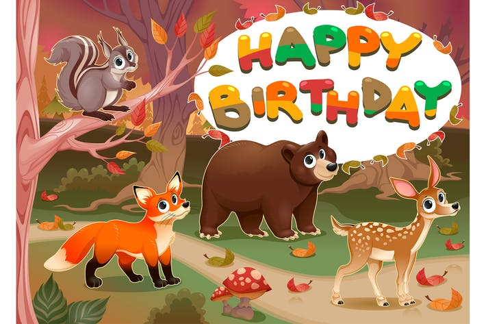 Thumbnail for Happy Birthday Card with Wood Animals