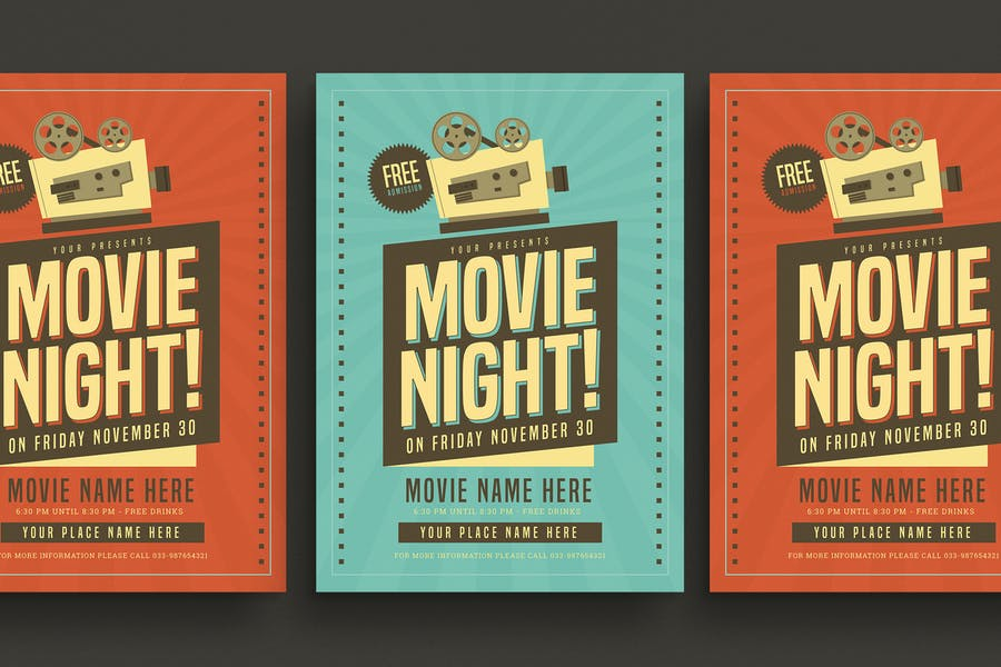 Retro Movie Night Flyer