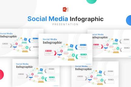 Ilustración de portátiles con infografía de redes sociales
