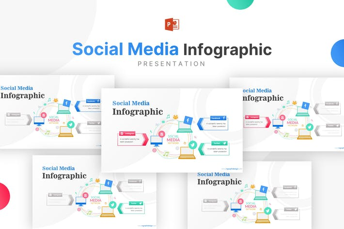 Thumbnail for Laptop Illustration With Social Media Infographic