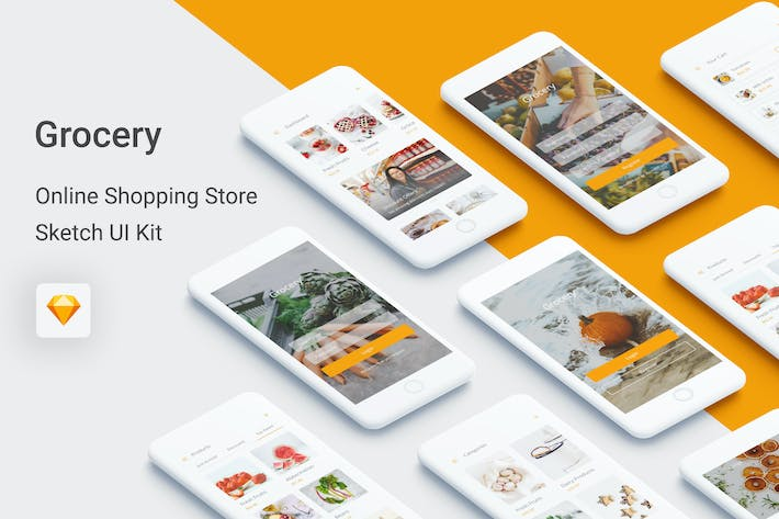 Thumbnail for Grocery - Online Shopping Store UI Kit for Sketch