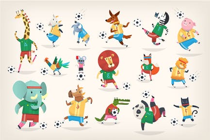 Animales jugando al fútbol
