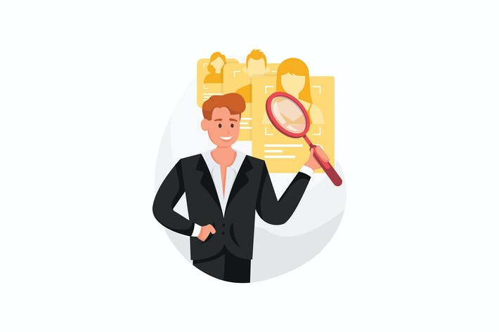 Thumbnail for HR with magnifier in hand chooses a candidate