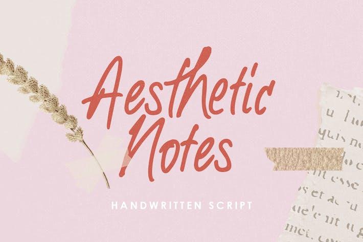 Notas estéticas - Fuente manuscrita