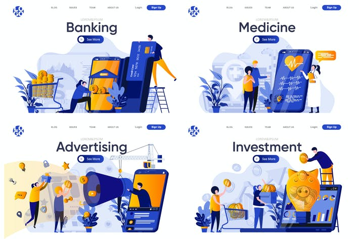 Thumbnail for Collection Web Page Flat Concept with People