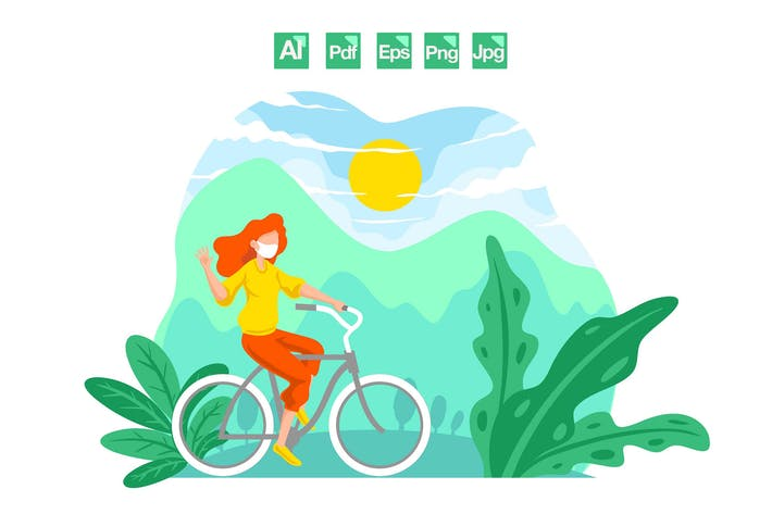 Thumbnail for Women Riding Bicycles - Vector