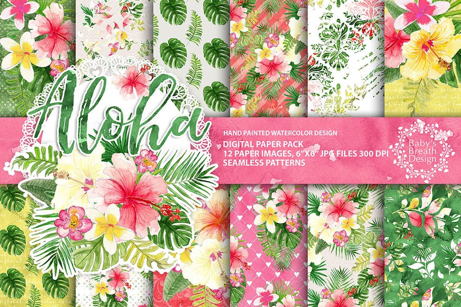 Tropical Digital paper pack
