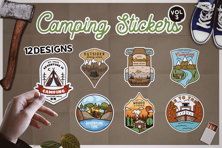 Thumbnail for Camping Stickers Bundle Vector Travel Emblems Vol3