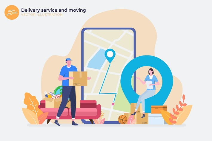Thumbnail for Delivery service and moving Flat Illustration