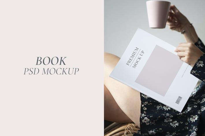 Woman reading a magazine mockup design