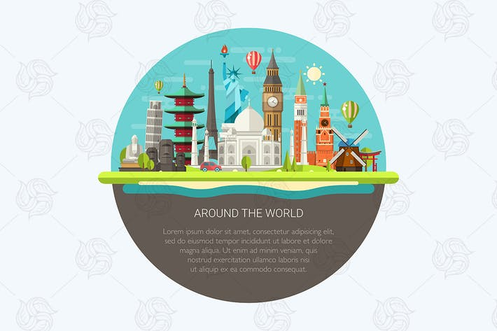 Thumbnail for Around the World - landmarks Illustration