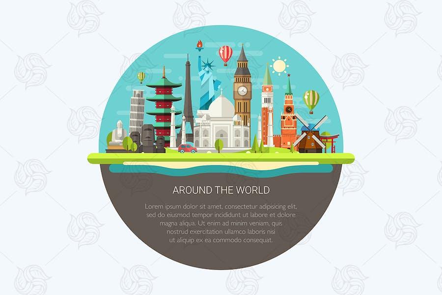 Around the World - landmarks Illustration