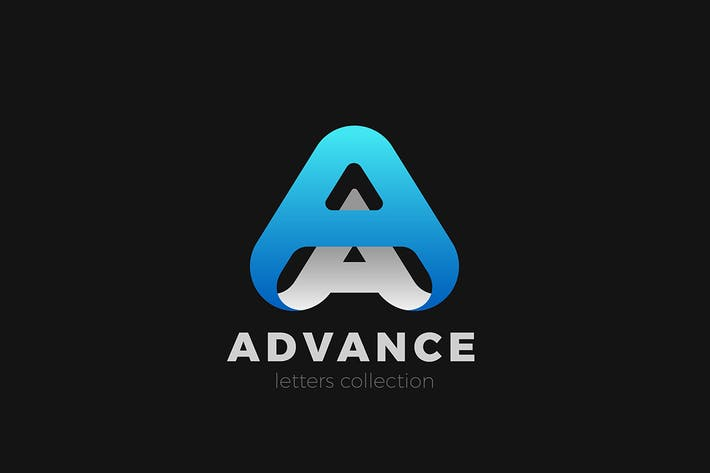 Letter A Logo design 3D Ribbon style