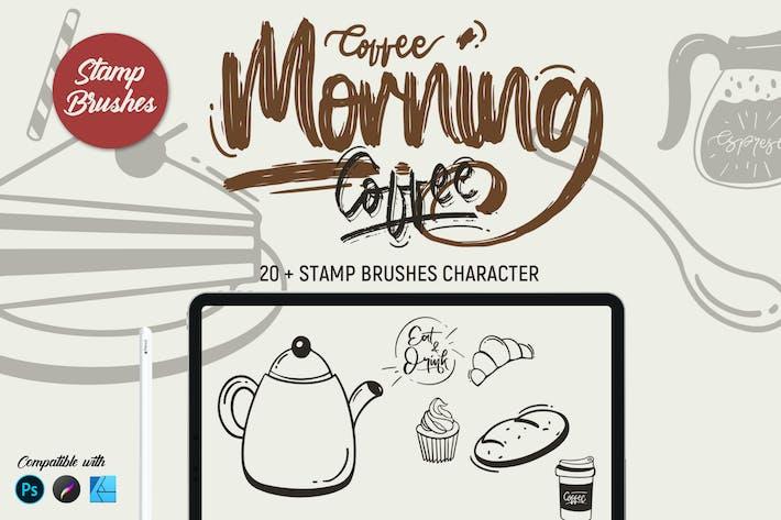 Утренний кофе | Штамп кисти