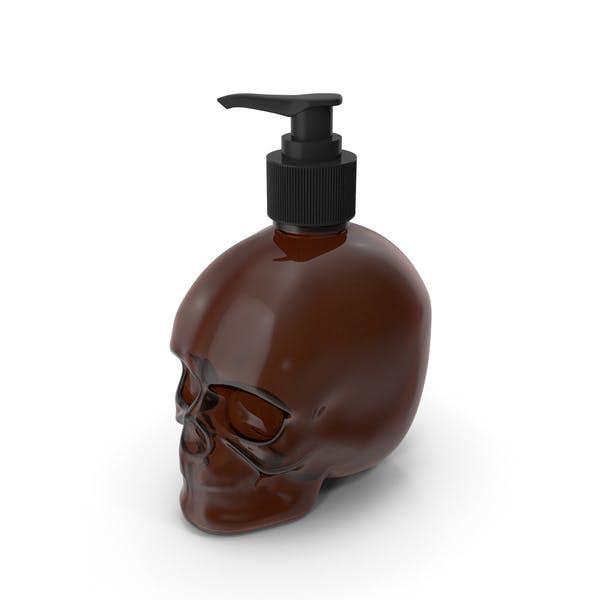 Dark Medical Glass Skull Bottle with Black Pump
