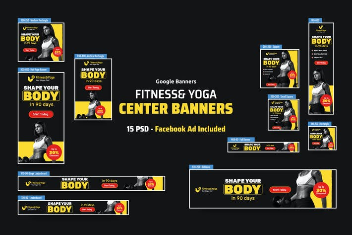 Thumbnail for Fitness & Yoga Banners Ad PSD Template