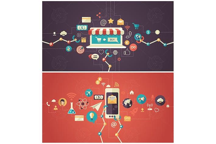 Thumbnail for Set of modern flat design business infographics