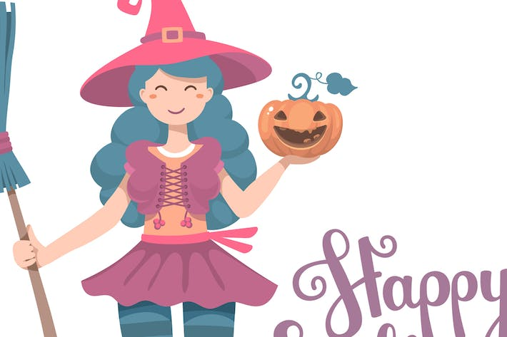 Thumbnail for Halloween cute witch with pumpkin