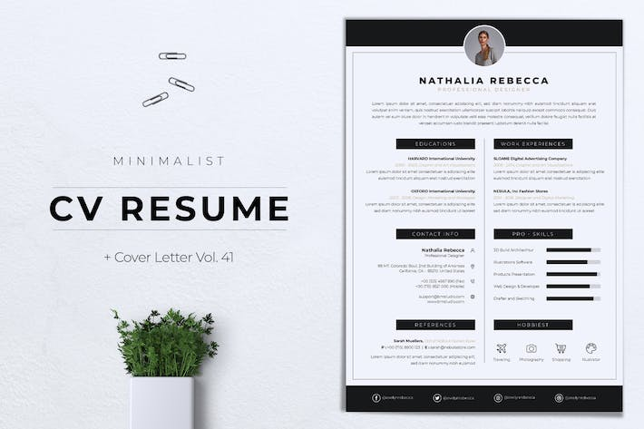 Thumbnail for Minimalist CV Resume Vol.41