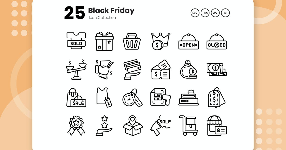 Download 25 Black Friday Outline Icon by vectorclans