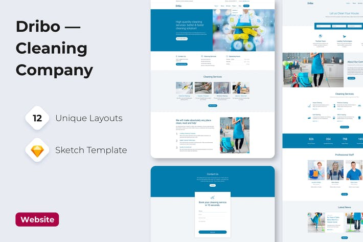 Thumbnail for Dribo — Cleaning company Sketch Template