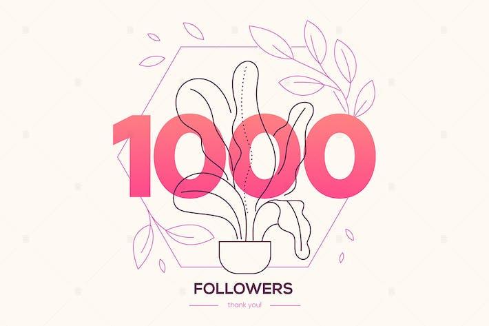 Thumbnail for 1000 seguidores - Banner de estilo de Diseño plano