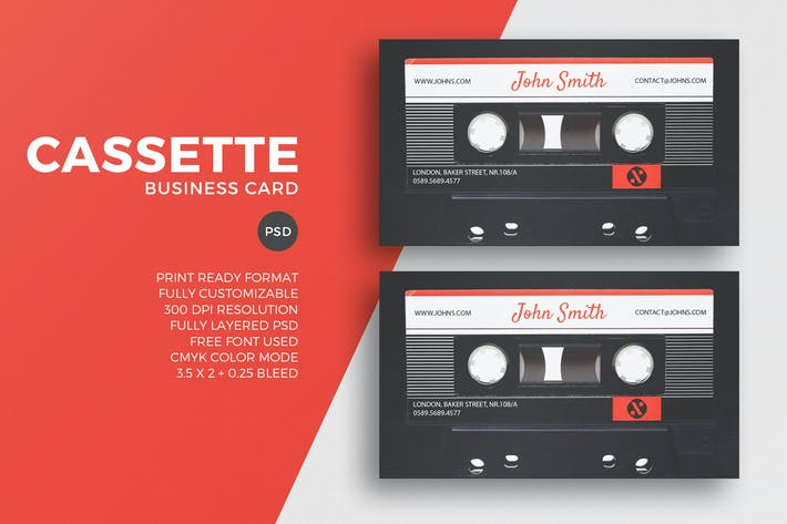 Thumbnail for Cassette Business Card Template
