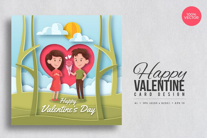 Thumbnail for Paper Art Valentine Square Vector Card Vol.6