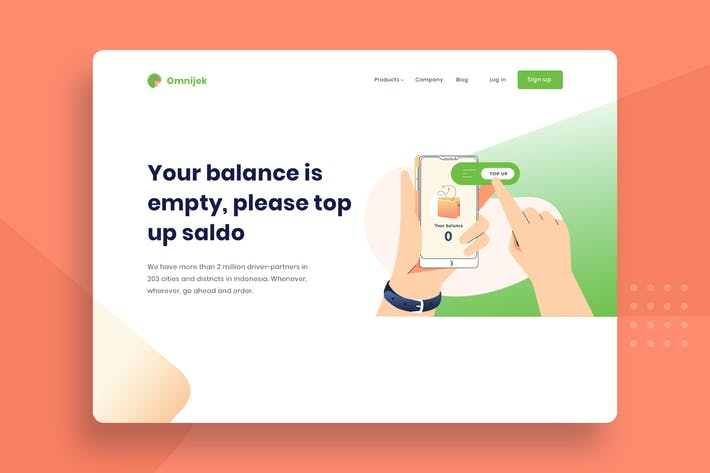Top up e-money balance Vector Templat Illustration