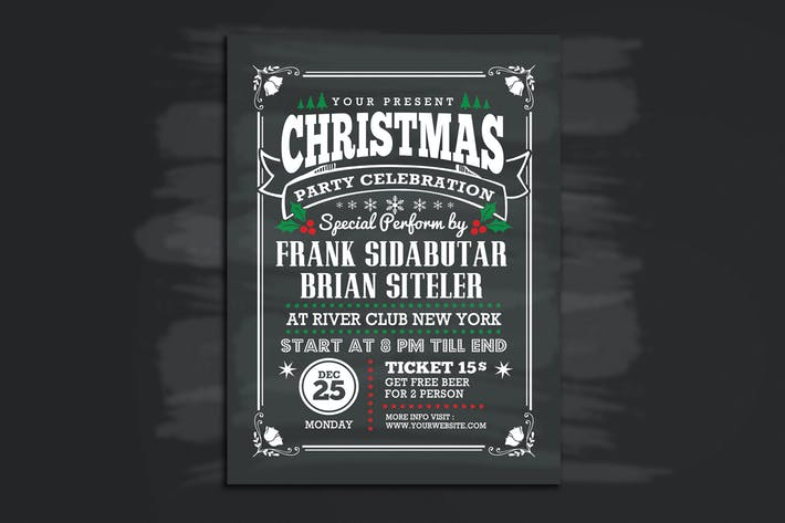 Thumbnail for Christmas Party Celebration Flyer Chalk Style