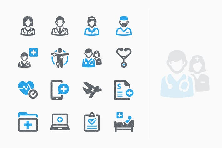 Blue Medical Services Icons Set 2 - Sympa Series