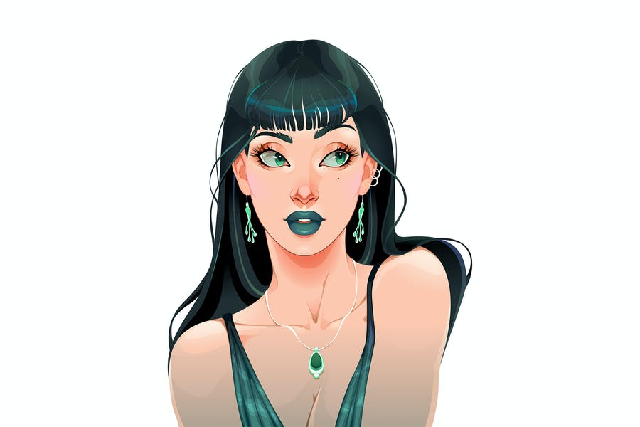 Portrait of a Girl Dressed in Green Color