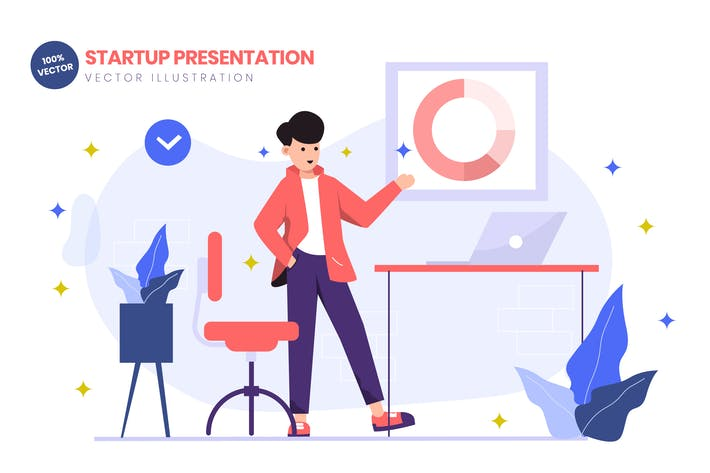 Cover Image For Startup Presentation Flat Vector Illustration