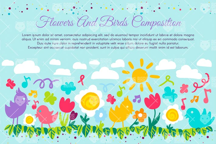 Thumbnail for Flowers And Birds Composition