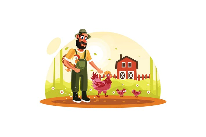 Thumbnail for Farmer and Chickens in Farm