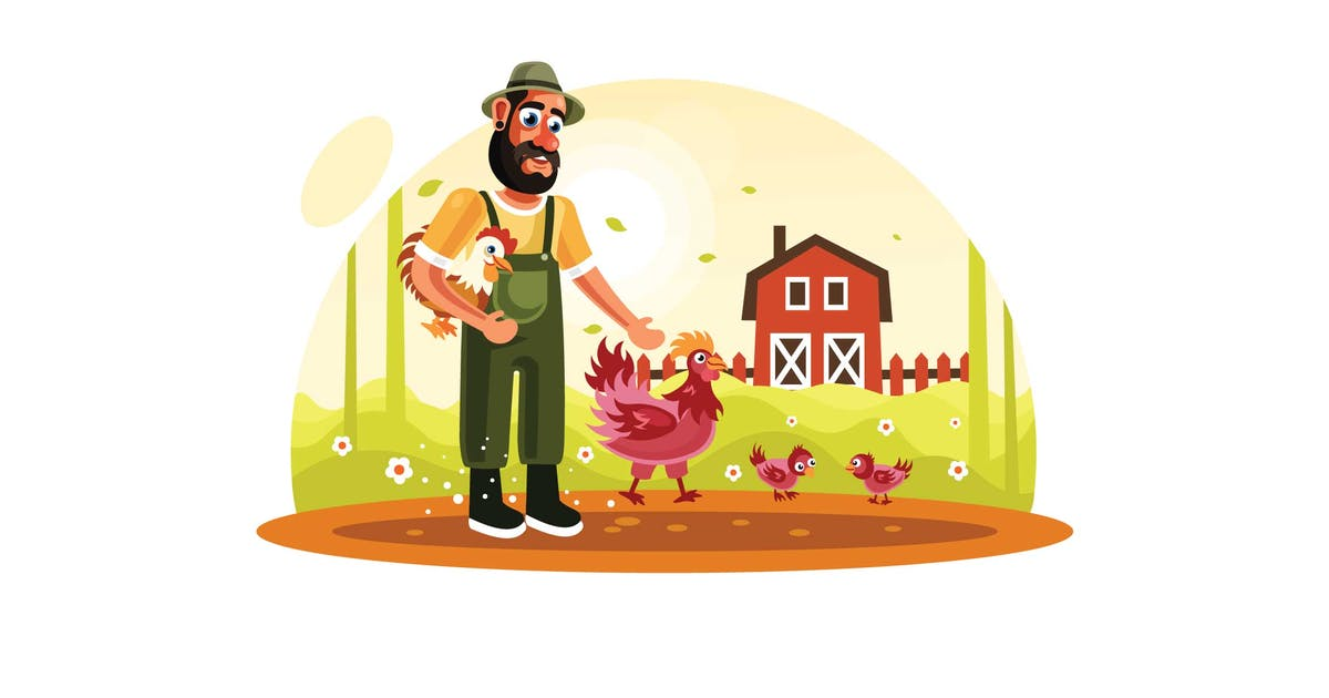 Download Farmer and Chickens in Farm by IanMikraz