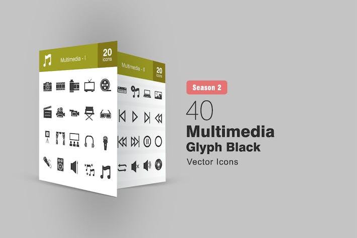 Thumbnail for 40 Multimedia-Glyphe-SIcons Saison II