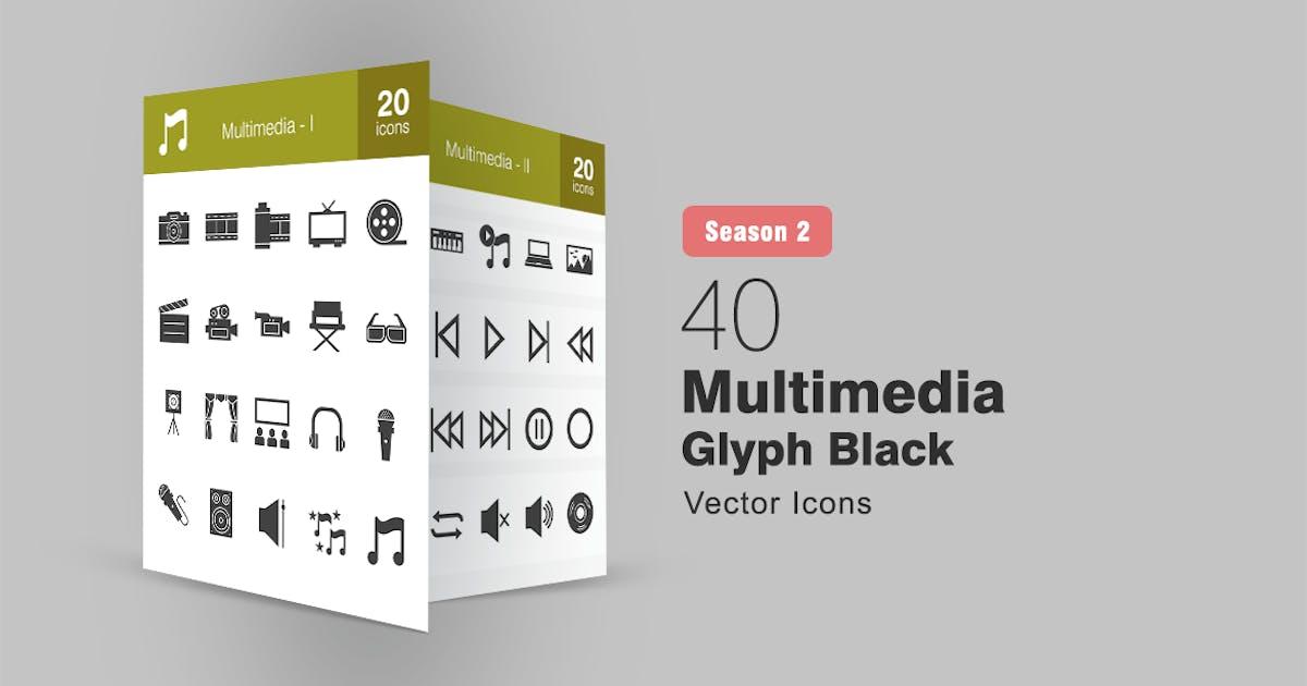 Download 40 Multimedia Glyph Icons Season II by IconBunny