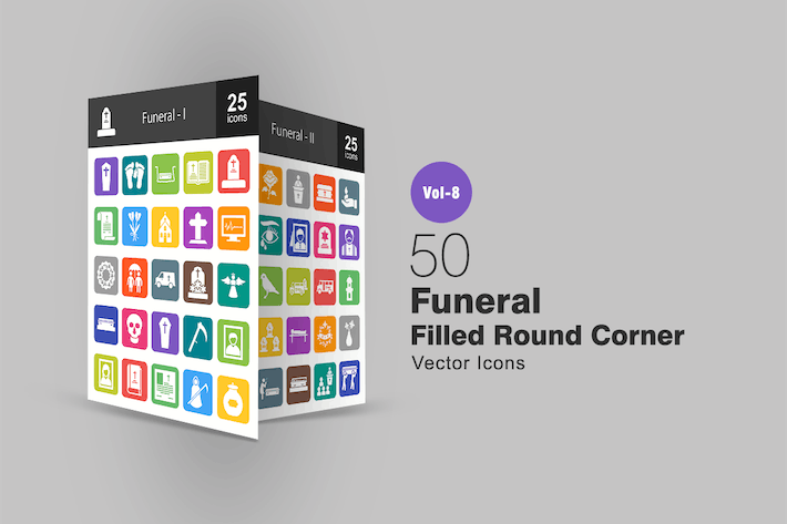 Thumbnail for 50 Funeral Filled Round Corner Icons