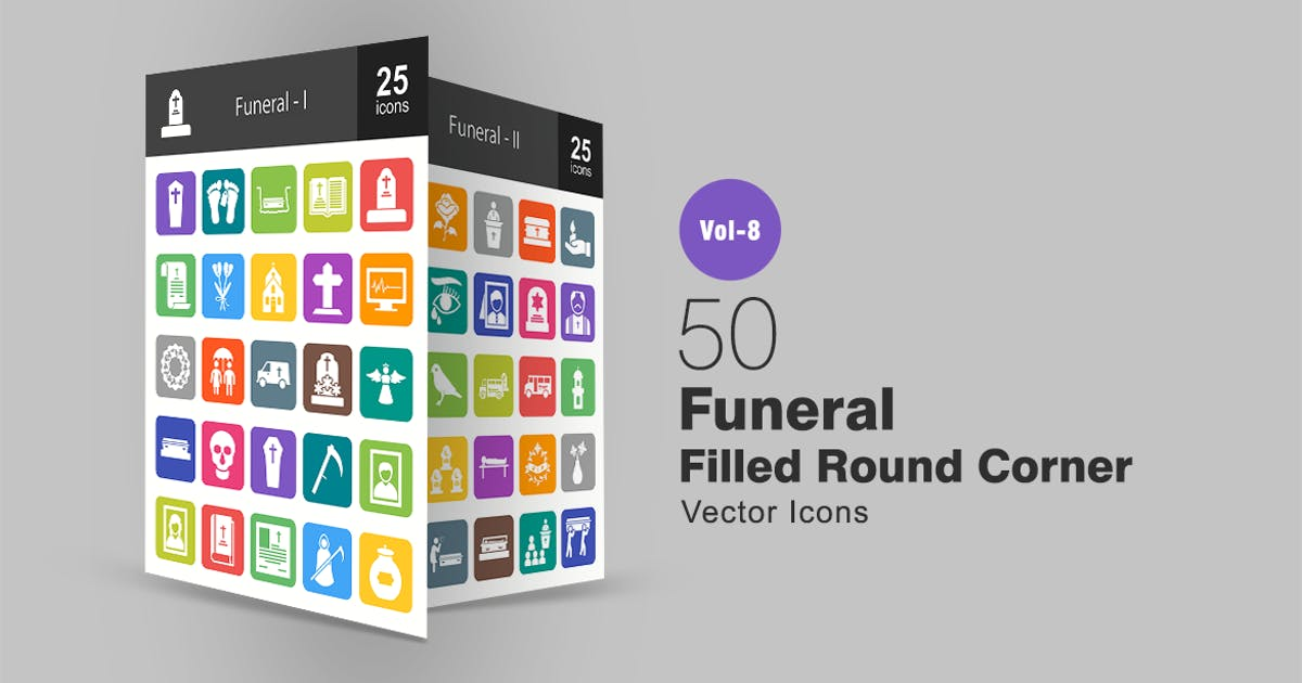 Download 50 Funeral Filled Round Corner Icons by Unknow