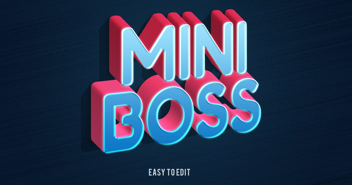 Download Mini Boss - Playful 3D PSD Text Effect by nathatype