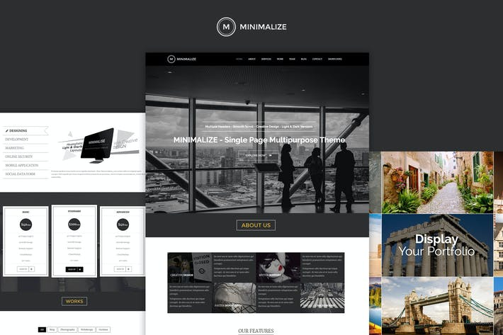Thumbnail for Minimalize | Minimal Multipurpose OnePage Template