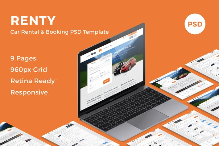 Thumbnail for Renty - Car Rental & Booking PSD Template