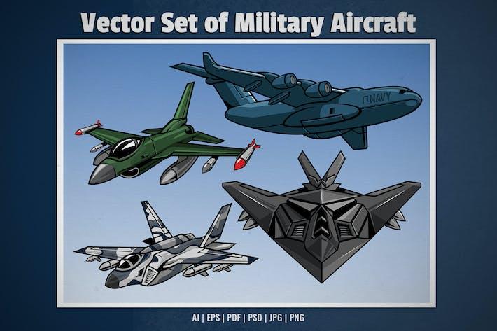 set of military aircraft vector